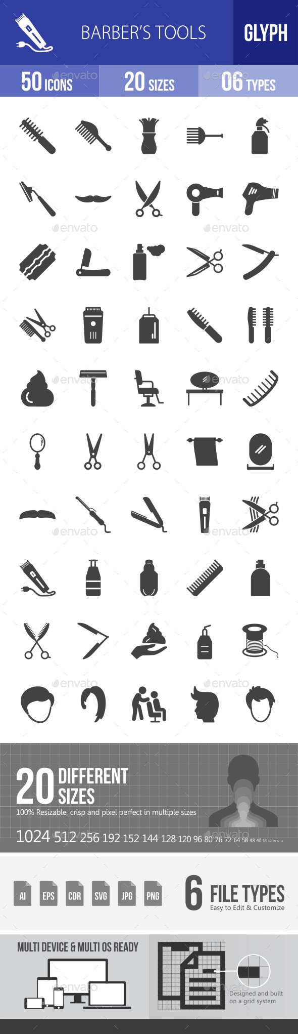 Barber's Tools Glyph Icons - Icons