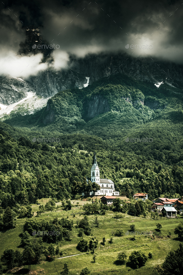 Dramatic Church in high mountains,Dreznica ,Slovenia - Stock Photo - Images