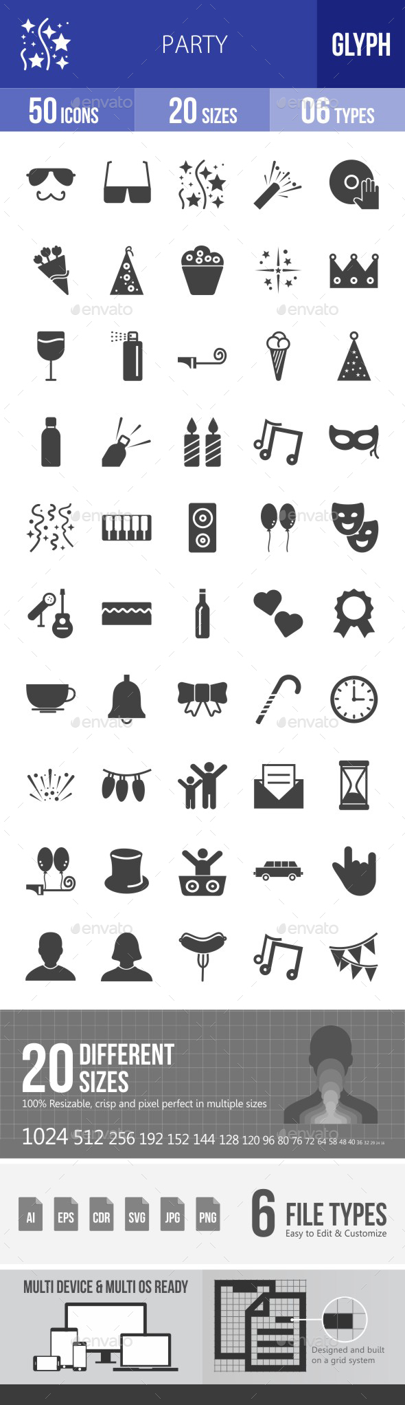 Party Glyph Icons - Icons