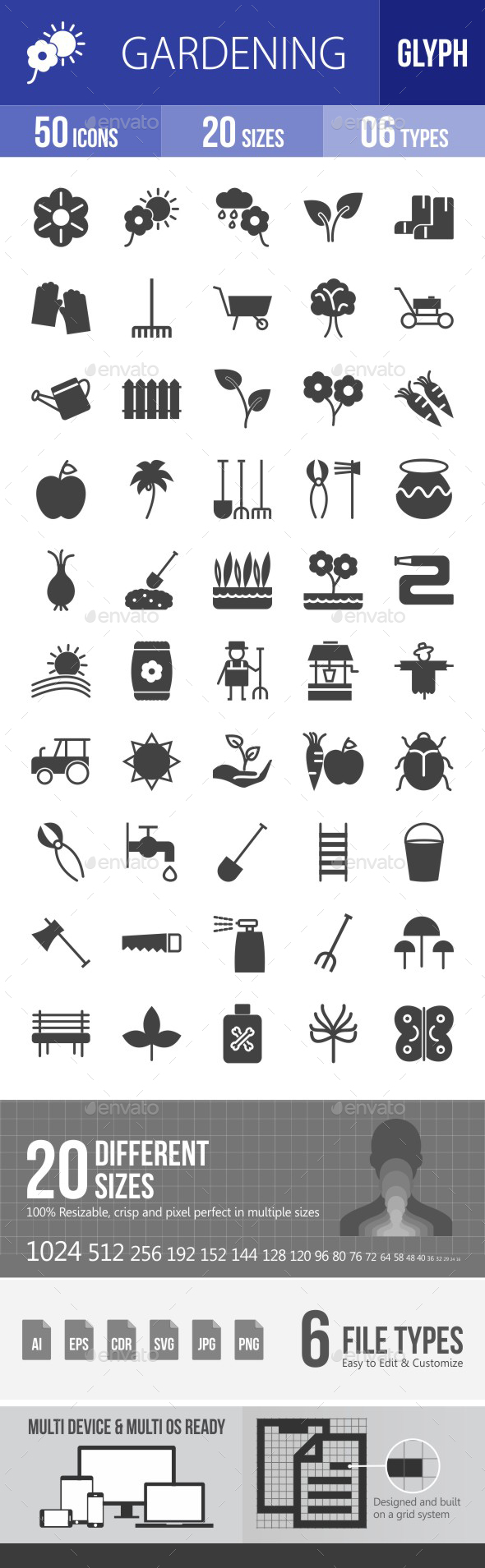 Gardening Glyph Icons - Icons