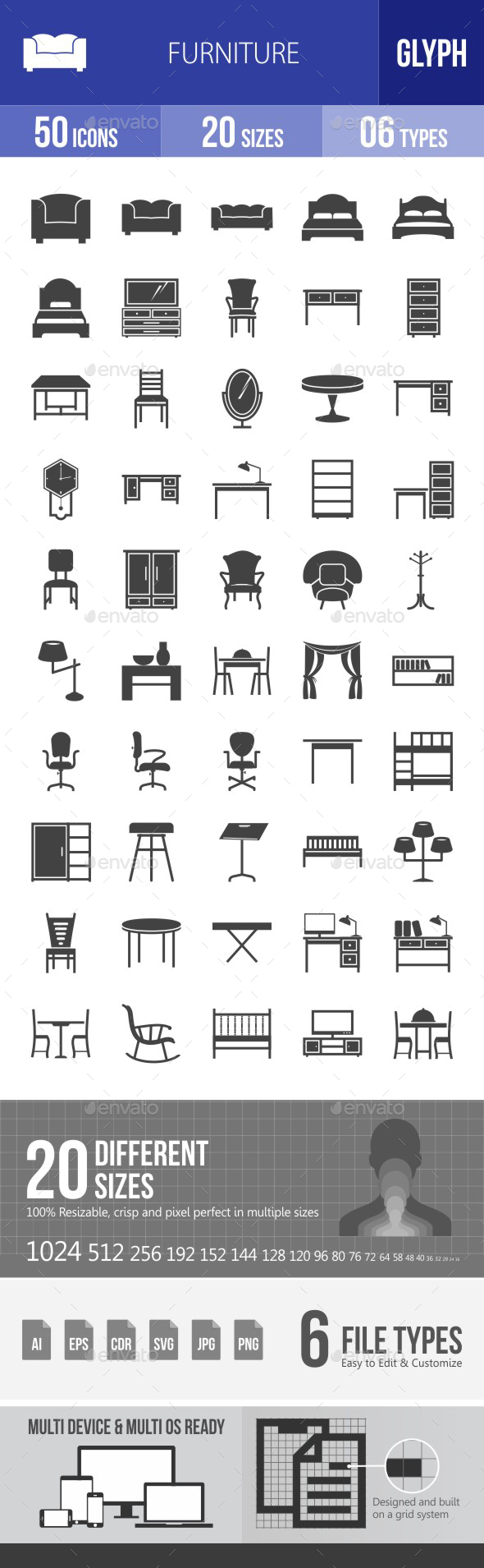 Furniture Glyph Icons - Icons