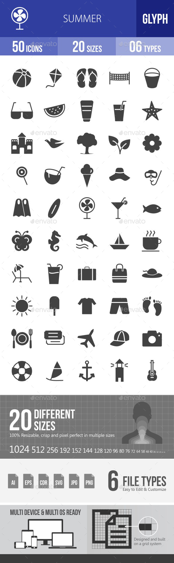 Summer Glyph Icons - Icons