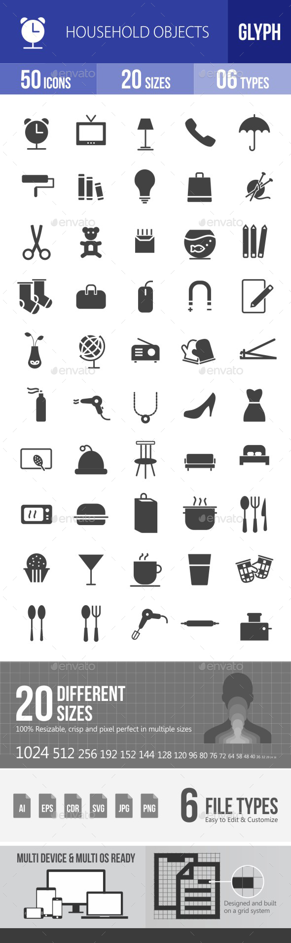 Household Objects Glyph Icons - Icons