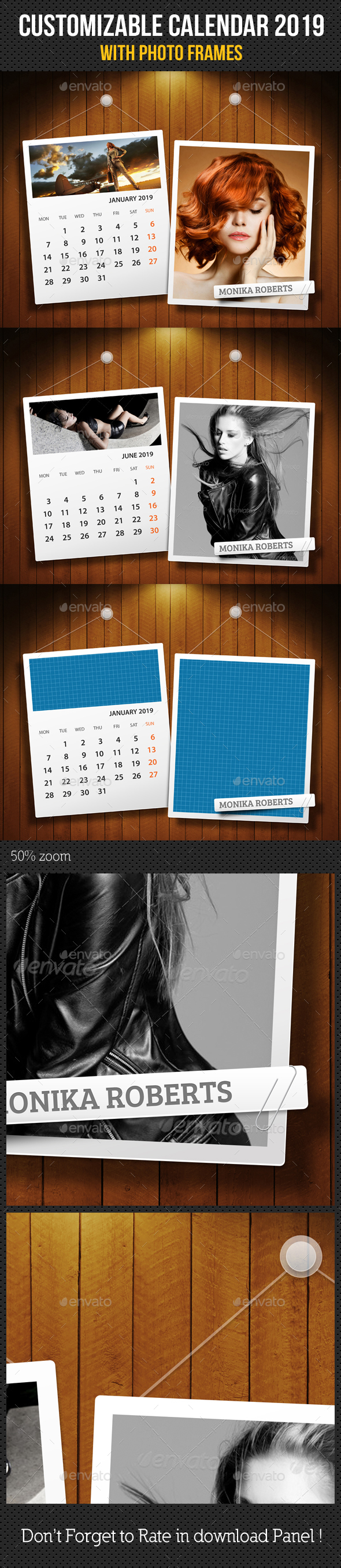 Customizable Calendar 2019 Photo Frame V07 - Miscellaneous Photo Templates