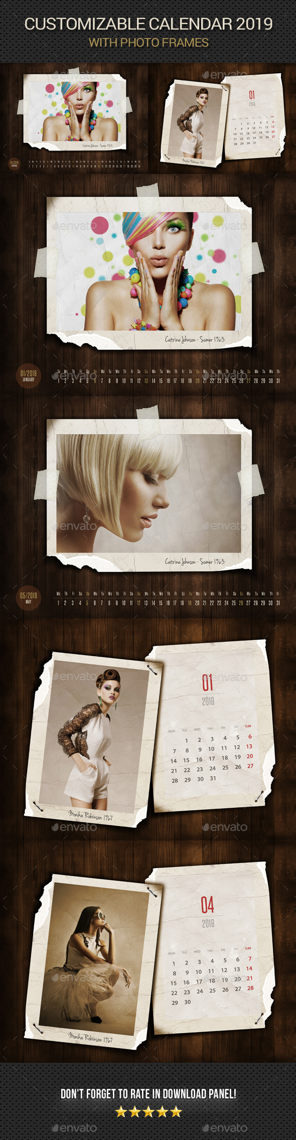 Customizable Vintage Calendar 2019 Photo Frame V08 - Photo Templates Graphics
