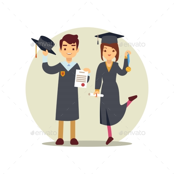 Girl and Boy Graduates Cartoon Character - People Characters
