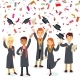Smiling Graduates and Colorful Confetti Rain