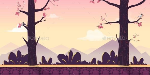 Cartoon Nature Landscape with Trees, Bushes - Miscellaneous Vectors