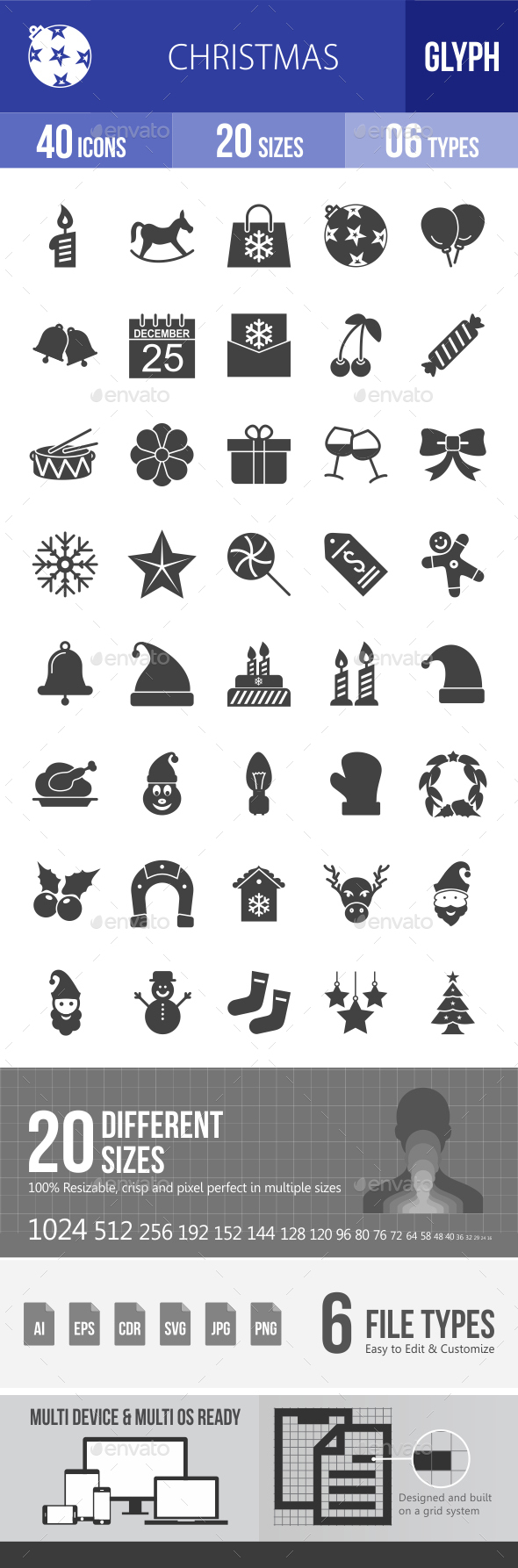 Christmas Glyph Icons - Icons