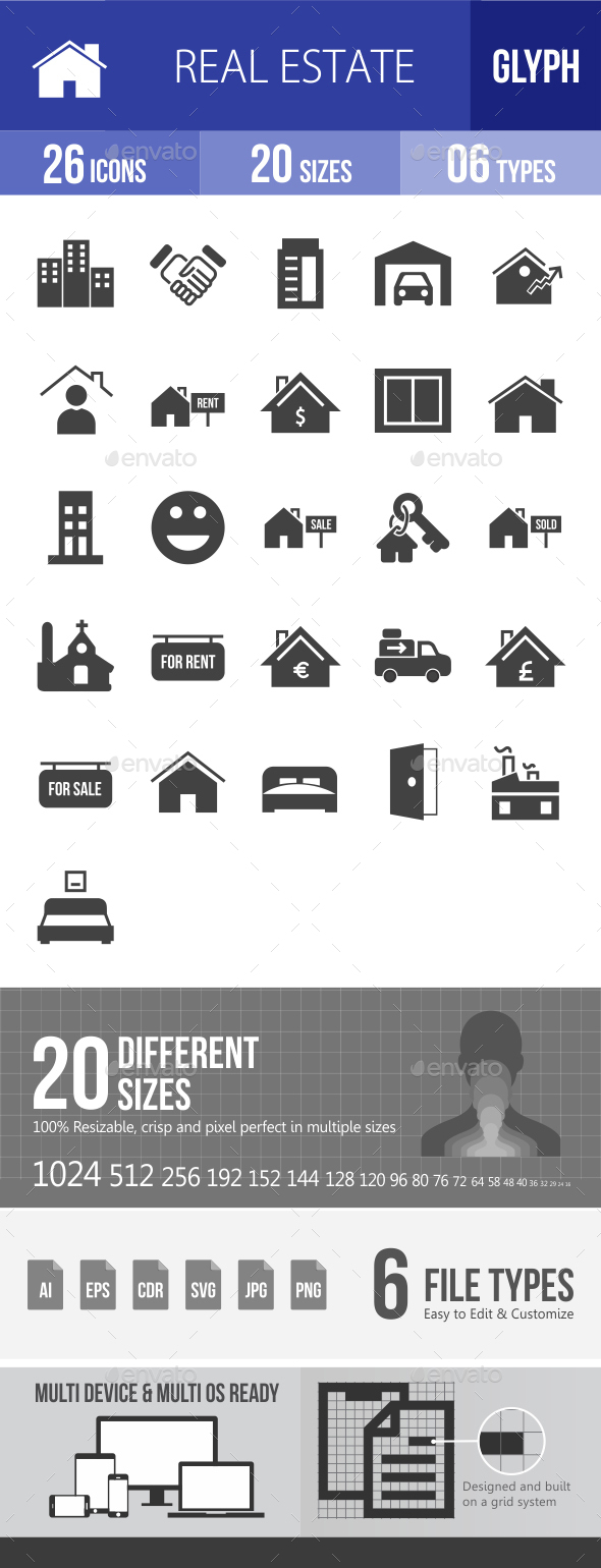 Real Estate Glyph Icons - Icons