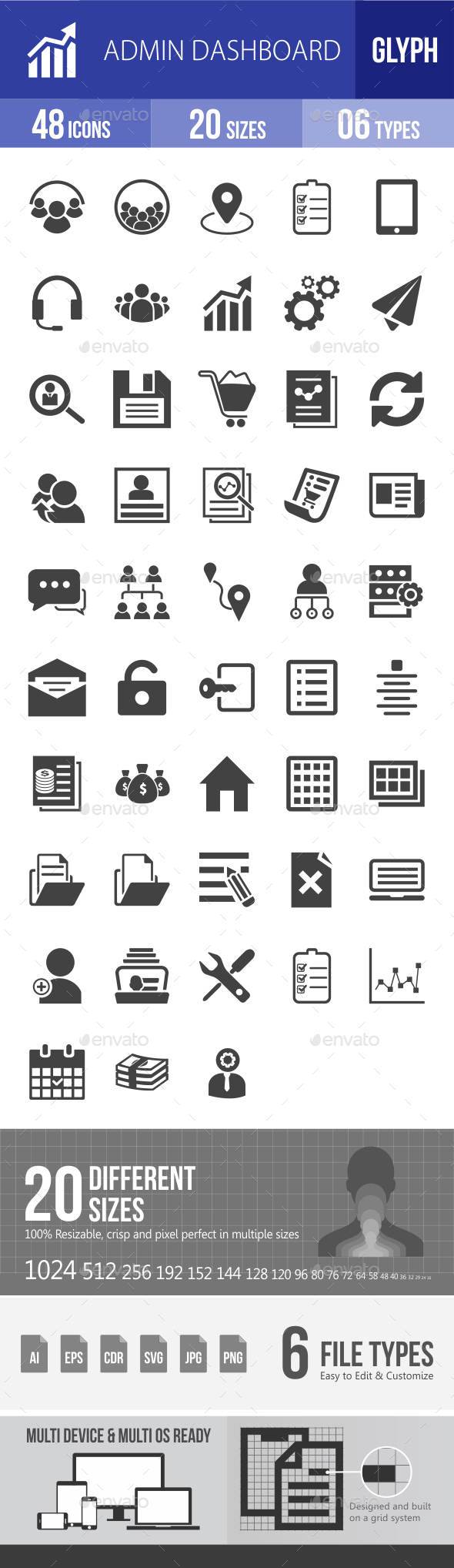 Admin Dashboard Glyph Icons - Icons
