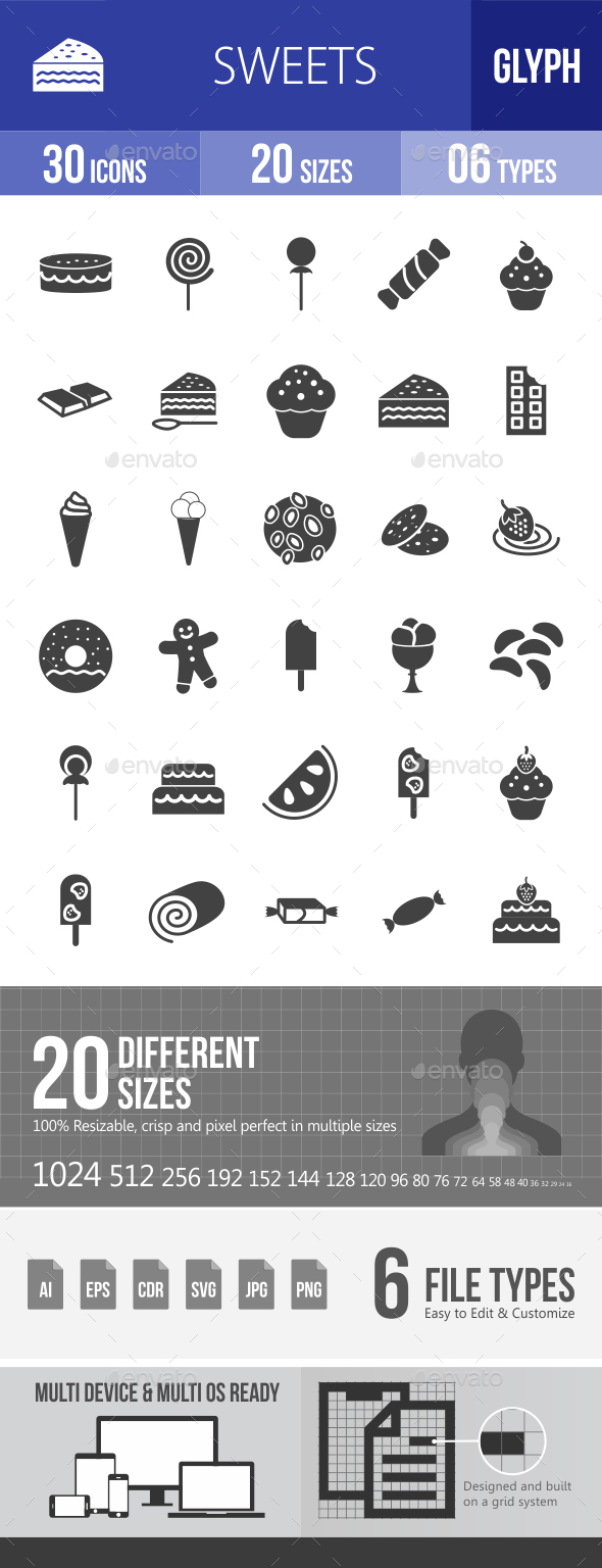 Sweets Glyph Icons - Icons
