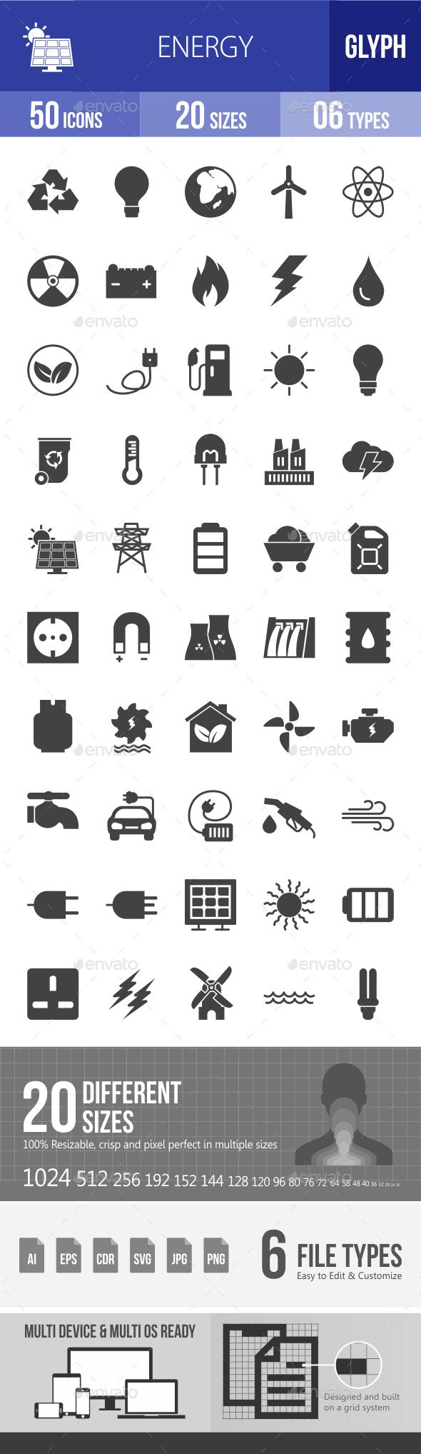 Energy Glyph Icons - Icons
