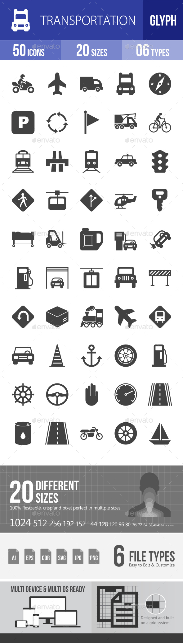 Transport Glyph Icons - Icons