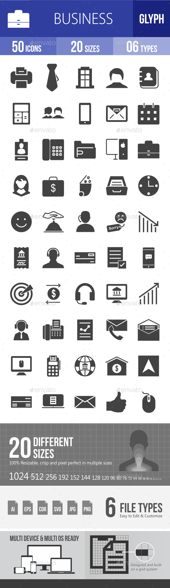 Business Glyph Icons - Icons