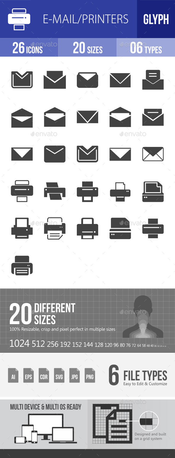 Email & Printer - Technology Glyph Icons - Icons