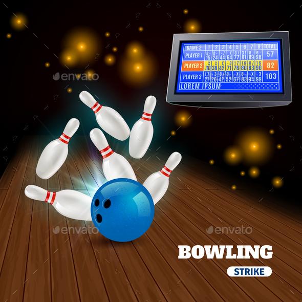 Bowling Strike Illustration - Backgrounds Decorative
