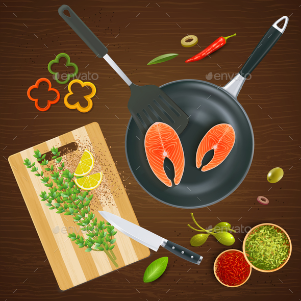 Kitchen Ware Top View Illustration - Food Objects