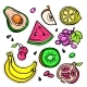 Fruits - Vector Isolated Retro Stickers Set - GraphicRiver Item for Sale