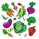 Vegetables Vector Isolated Retro Stickers Set - GraphicRiver Item for Sale