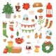 Christmas Icons Symbols Vector for New Year