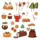 Christmas Food Vector Desserts Holiday Decoration
