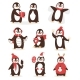 Christmas Cute Penguin Vector Character Cartoon