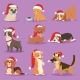 Christmas Dog Vector Cute Cartoon Puppy Characters