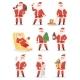 Christmas Santa Claus Vector Character Poses