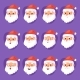 Christmas Santa Claus Head Emotion Faces Vector