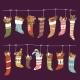 Christmas Socks Vector Santa Xmas New Year Gift