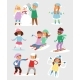 Winter Christmas Vector Kids Playing Games Outdoor
