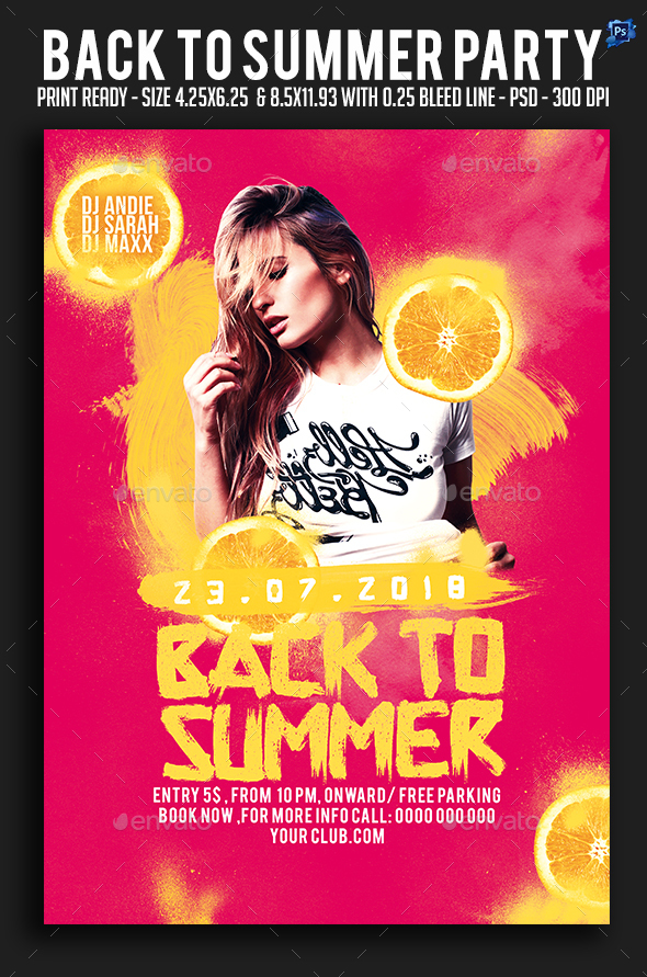 Back To Summer Party Flyer - Clubs & Parties Events