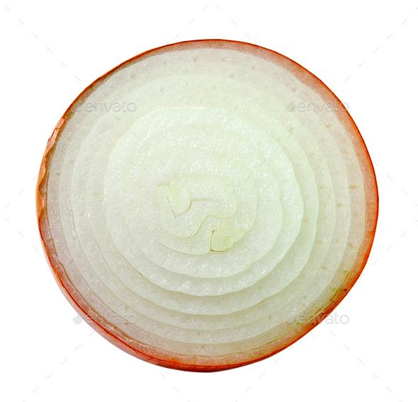sliced onion on white background - Stock Photo - Images