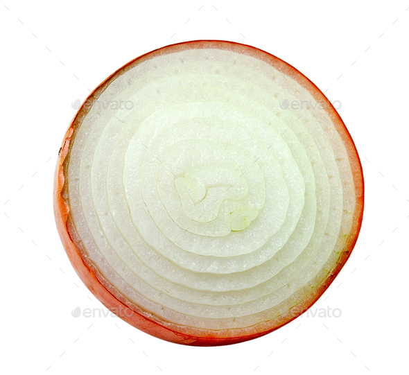 sliced onion on white background - Stock Photo - Images
