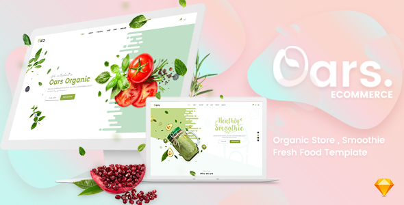 Oars - Organic Store , Smoothie , Fresh Food Sketch Template - Sketch Templates