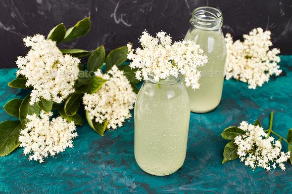 Kombucha tea with elderflower - Stock Photo - Images
