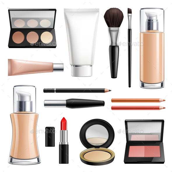 Makeup Cosmetics Realistic Set - Miscellaneous Vectors