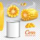 Realistic Corn Transparent Set