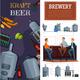 Beer Production Vertical Cartoon Banners