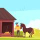 Horse Barn Equestrian Composition