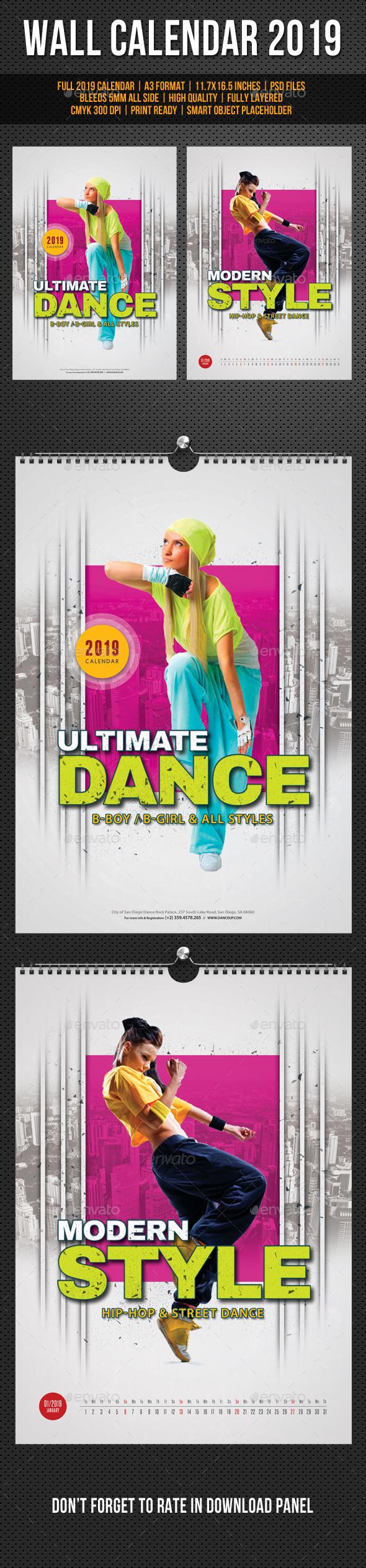 Modern Style Dance Wall Calendar A3 2019 - Calendars Stationery