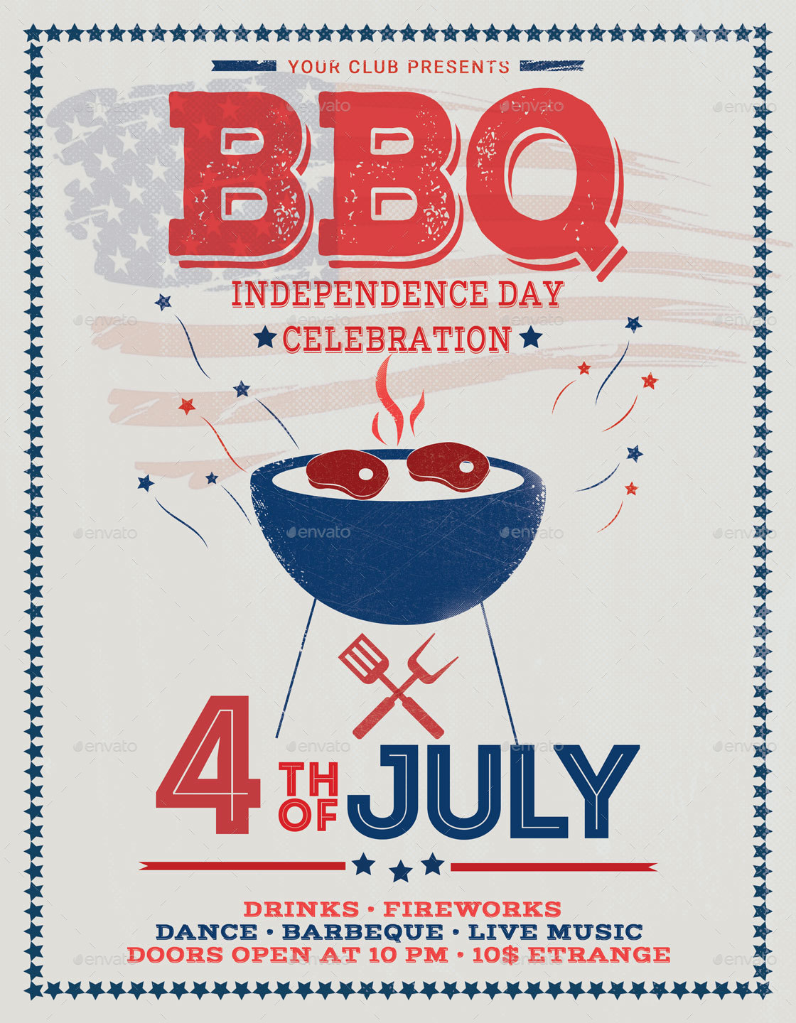 4th of July BBQ Independence Day  Flyer Poster