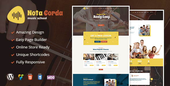 NotaCorda - Music School, Musicians and Children's Music Academy WordPress Theme - Education WordPress