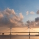 Cloudy Morning Sky Beautiful Bridge Over the River on the Cables Is Road - VideoHive Item for Sale