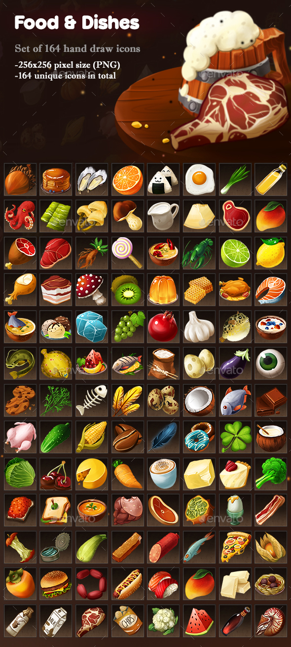 Food and Dishes Icons - Miscellaneous Game Assets