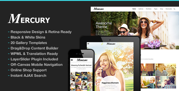 Download Photography WordPress | Mercury for Photography nulled 01 Cover
