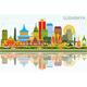 Surabaya Indonesia Skyline with Color Buildings