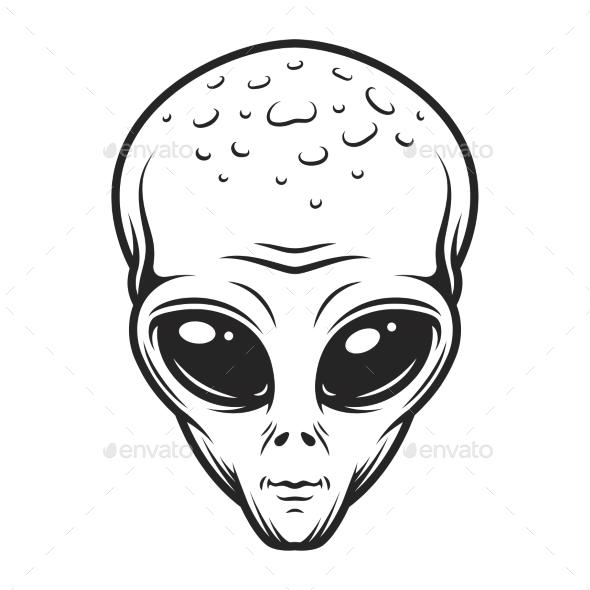 Vintage Monochrome Alien Face Concept - Miscellaneous Vectors