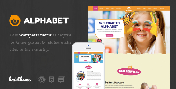 Alphabet - Kids, Children WordPress Theme - Education WordPress